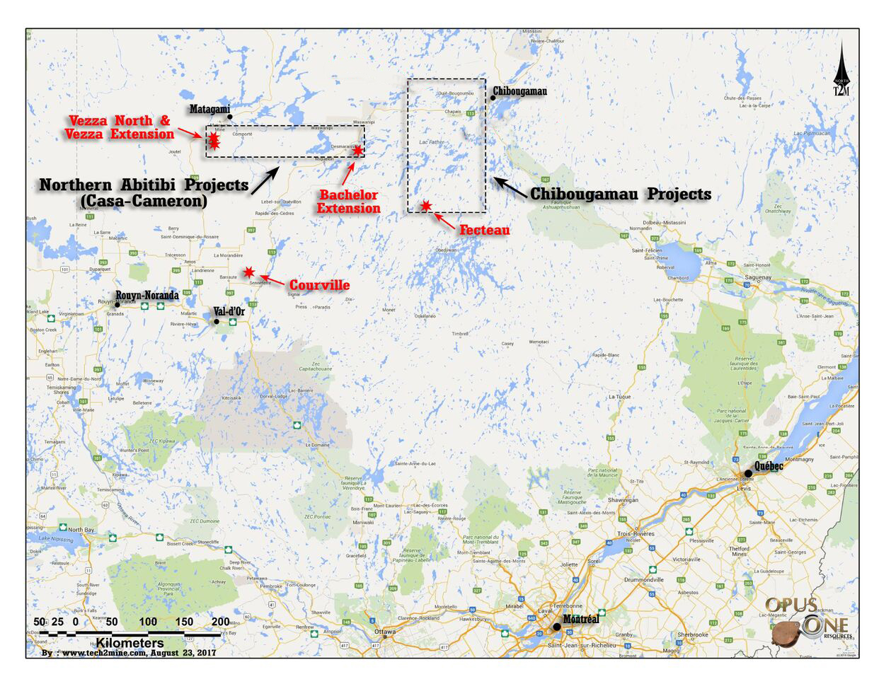 The Chibougamau project is comprised of three gold properties located in mining camps, where previous exploration has identified several gold occurrences